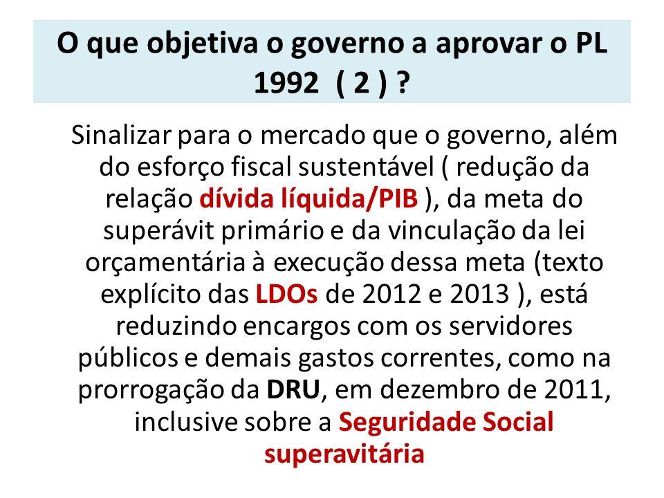 O que objetiva o governo a aprovar o PL 1992 ( 2 )