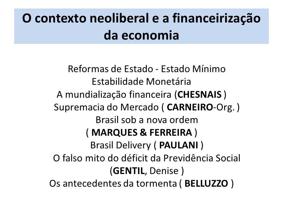 O contexto neoliberal e a financeirização da economia