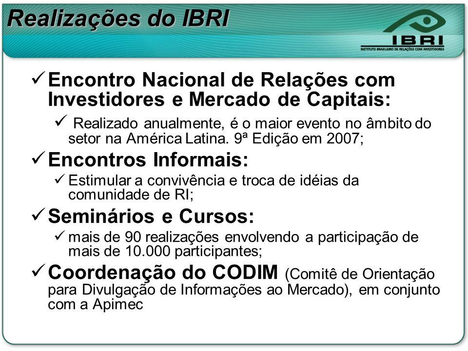 Realizações do IBRIEncontro Nacional de Relações com Investidores e Mercado de Capitais: