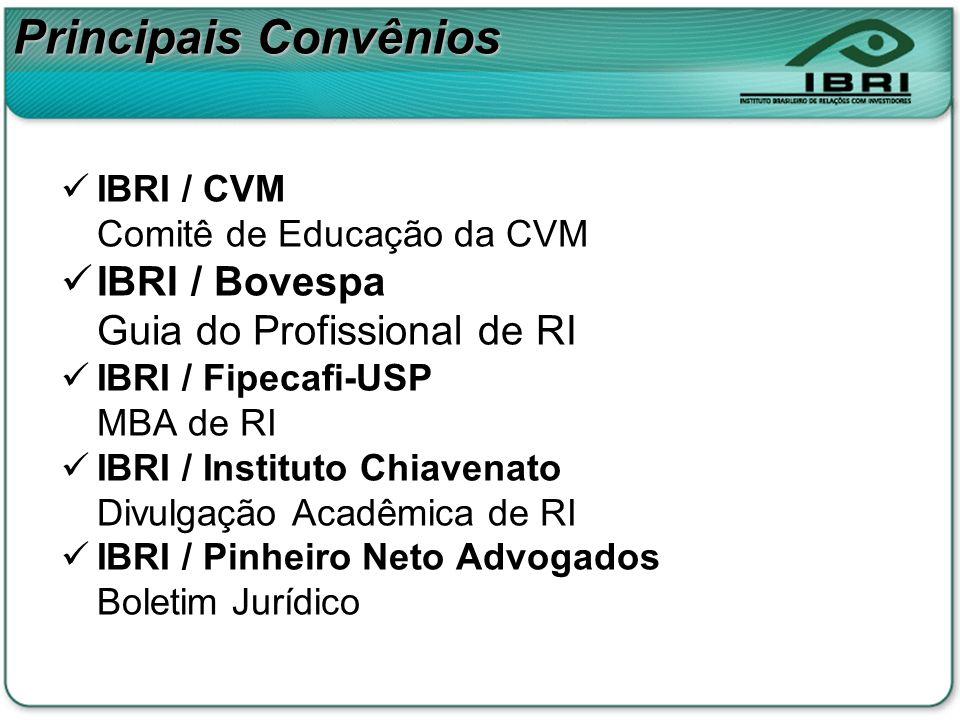Principais Convênios IBRI / Bovespa Guia do Profissional de RI