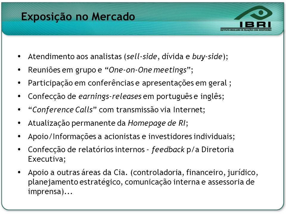 Exposição no Mercado Atendimento aos analistas (sell-side, dívida e buy-side); Reuniões em grupo e One-on-One meetings ;