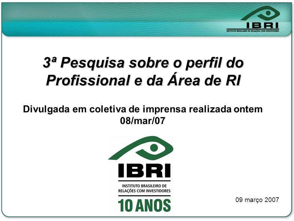 3ª Pesquisa sobre o perfil do Profissional e da Área de RI