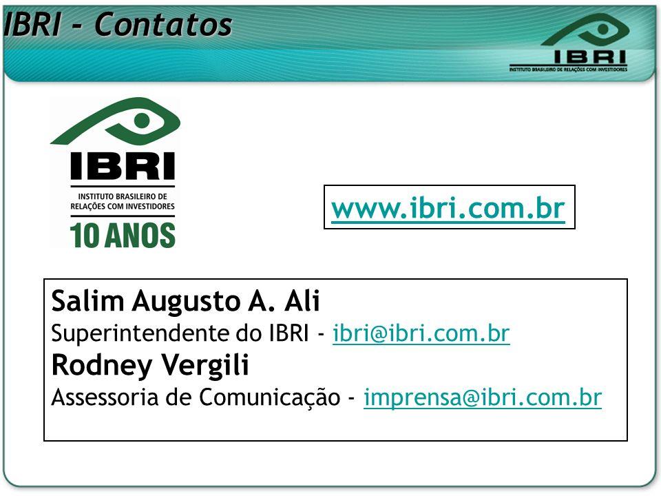 IBRI - Contatos www.ibri.com.br Salim Augusto A. Ali Rodney Vergili