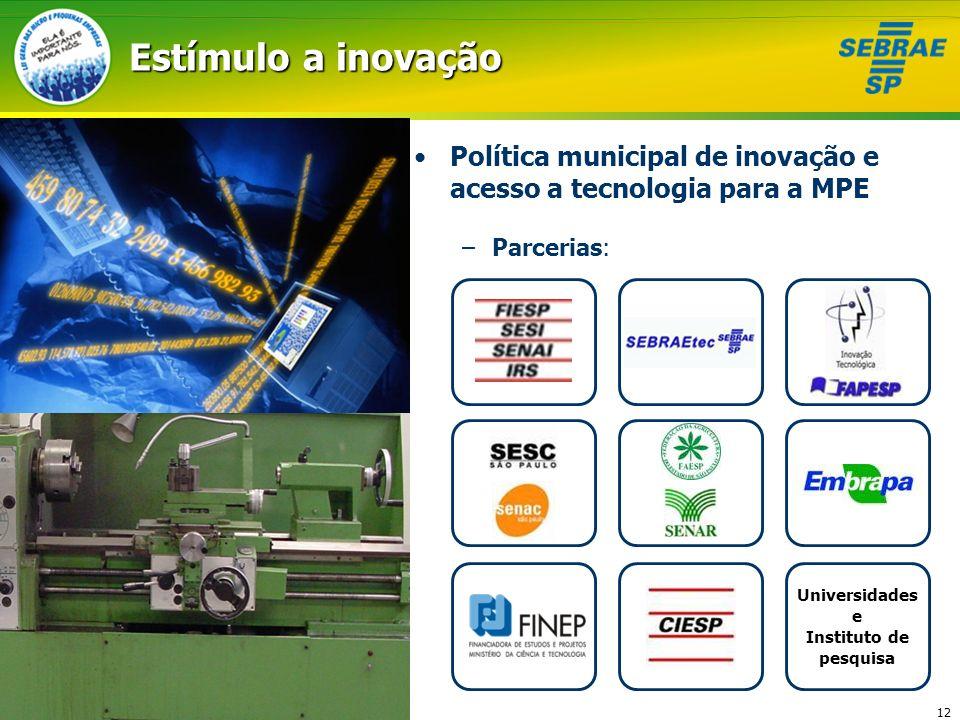 Estímulo a inovação Política municipal de inovação e acesso a tecnologia para a MPE. Parcerias: Universidades.