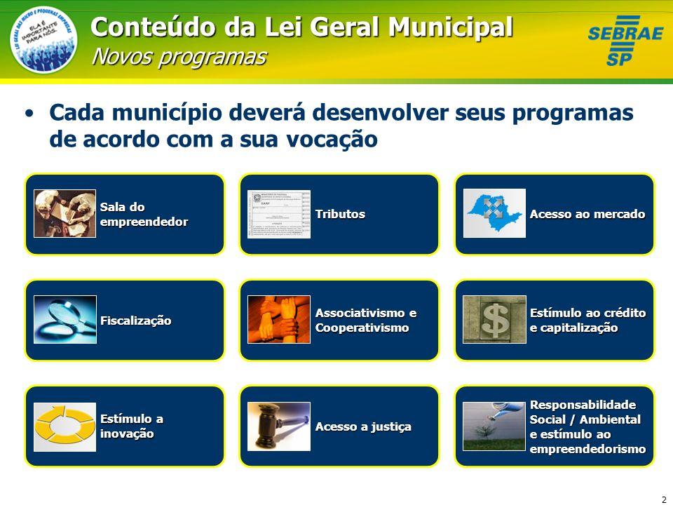 Conteúdo da Lei Geral Municipal Novos programas