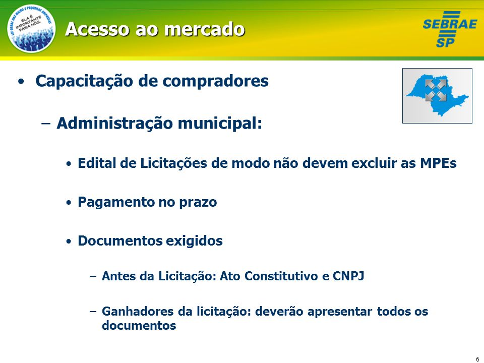Acesso ao mercado Capacitação de compradores Administração municipal: