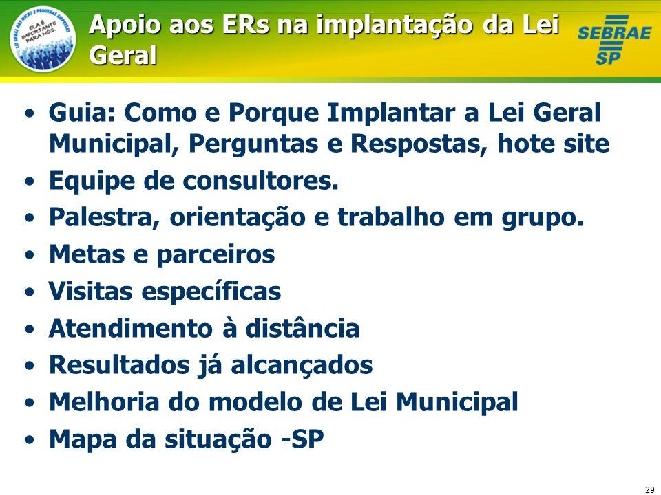 Apoio aos ERs na implantação da Lei Geral