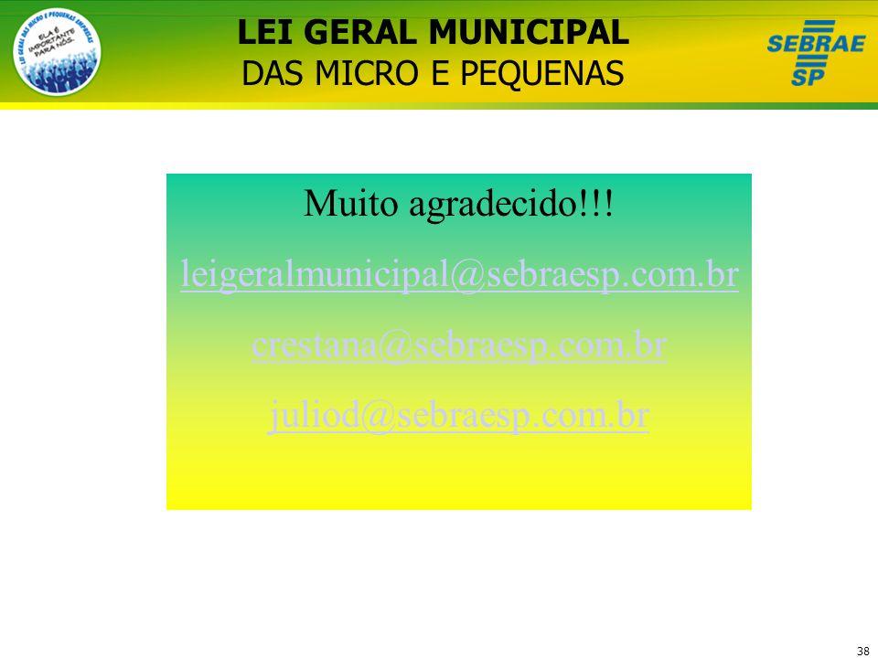 LEI GERAL MUNICIPAL DAS MICRO E PEQUENAS
