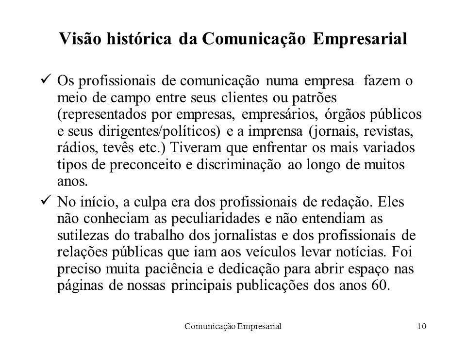 Visão histórica da Comunicação Empresarial