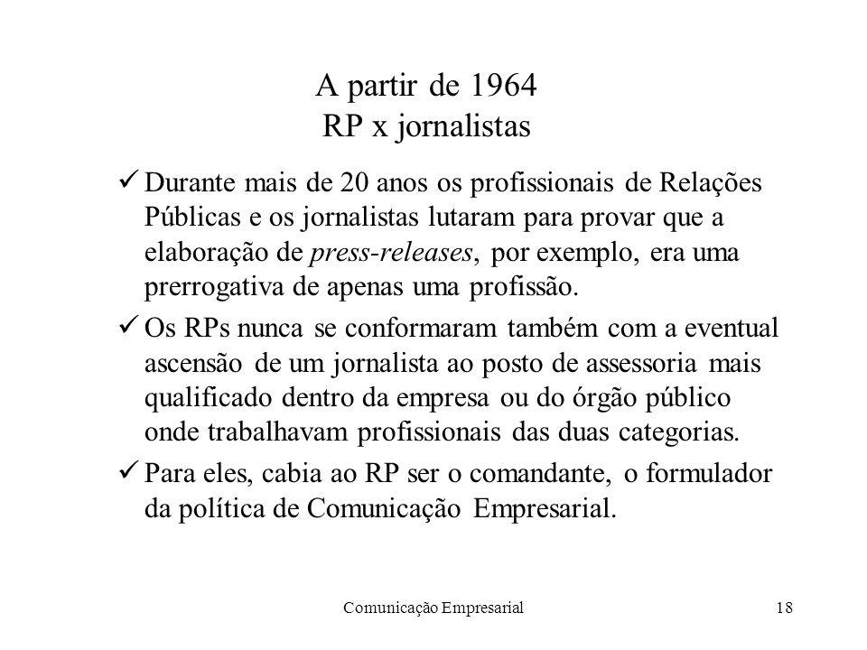 A partir de 1964 RP x jornalistas