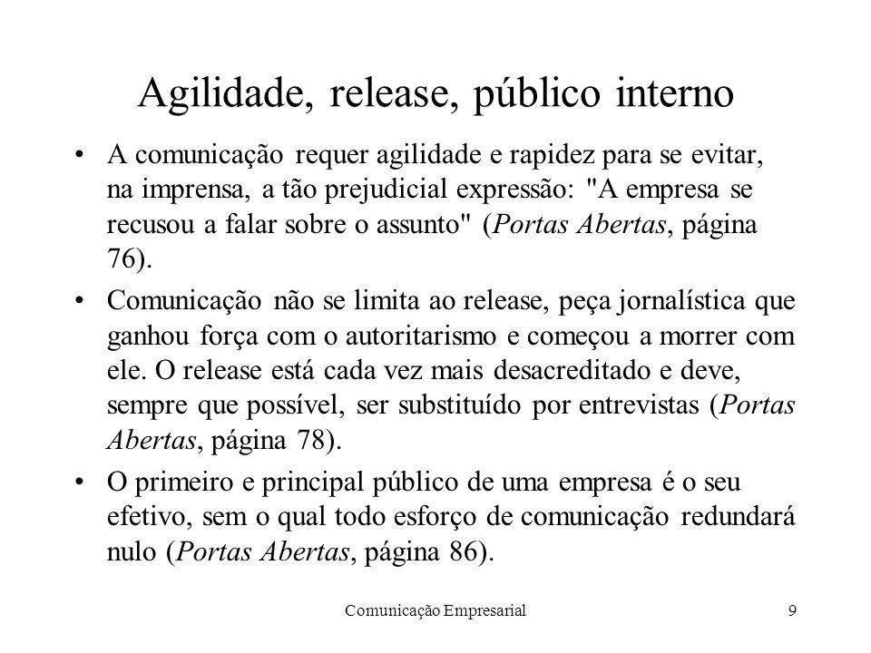 Agilidade, release, público interno