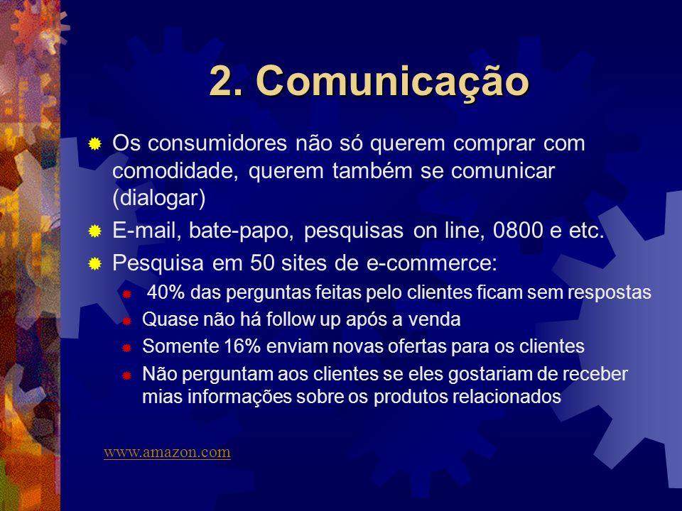 2. Comunicação Os consumidores não só querem comprar com comodidade, querem também se comunicar (dialogar)