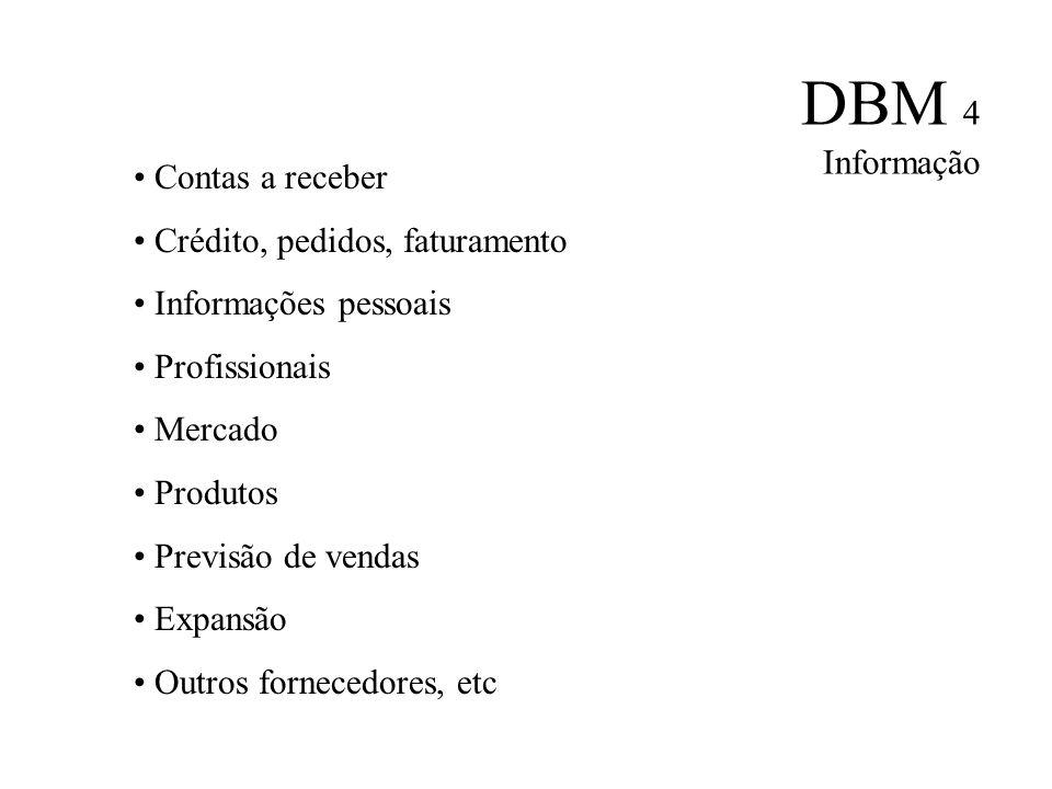 DBM 4 Informação Contas a receber. Crédito, pedidos, faturamento. Informações pessoais. Profissionais.