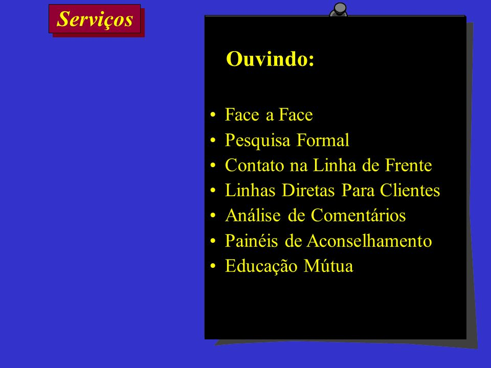 Serviços Ouvindo: Face a Face Pesquisa Formal