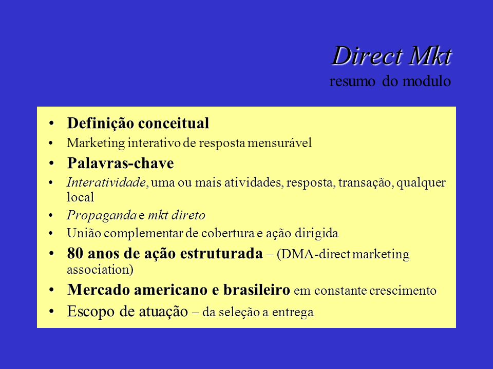 Direct Mkt resumo do modulo