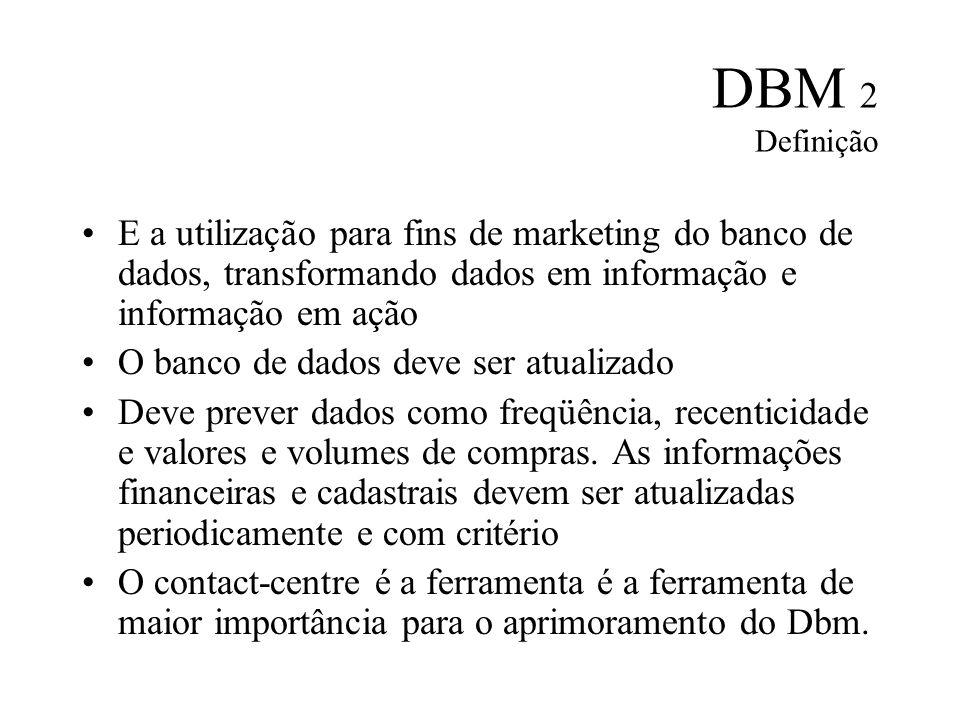 DBM 2 Definição E a utilização para fins de marketing do banco de dados, transformando dados em informação e informação em ação.