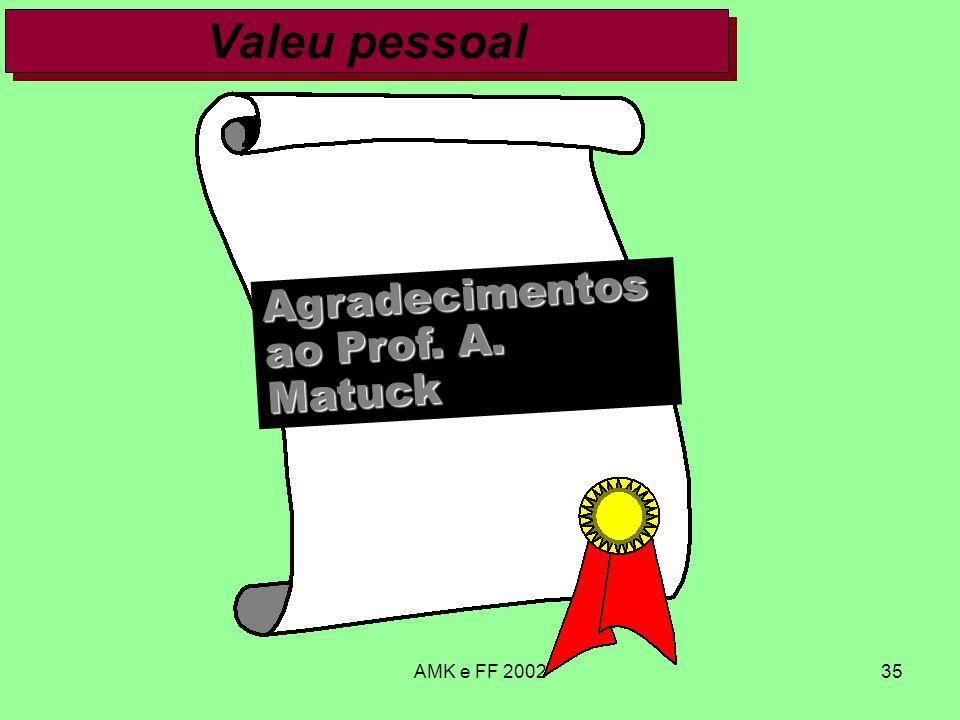 Valeu pessoal Agradecimentos ao Prof. A. Matuck AMK e FF 2002