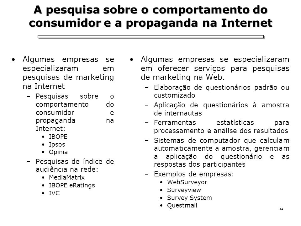 A pesquisa sobre o comportamento do consumidor e a propaganda na Internet