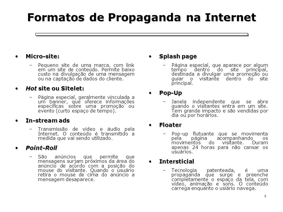 Formatos de Propaganda na Internet