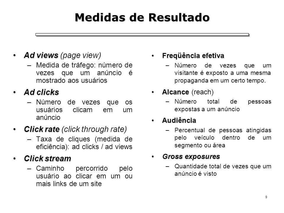 Medidas de Resultado Ad views (page view) Ad clicks