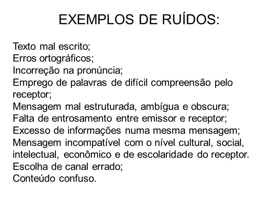 EXEMPLOS DE RUÍDOS: Texto mal escrito; Erros ortográficos;