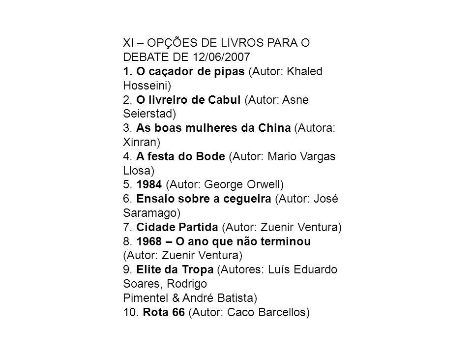 XI – OPÇÕES DE LIVROS PARA O DEBATE DE 12/06/2007