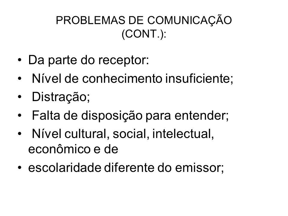 PROBLEMAS DE COMUNICAÇÃO (CONT.):