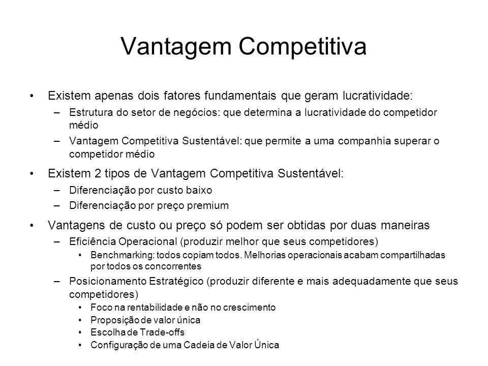 Vantagem Competitiva Existem apenas dois fatores fundamentais que geram lucratividade: