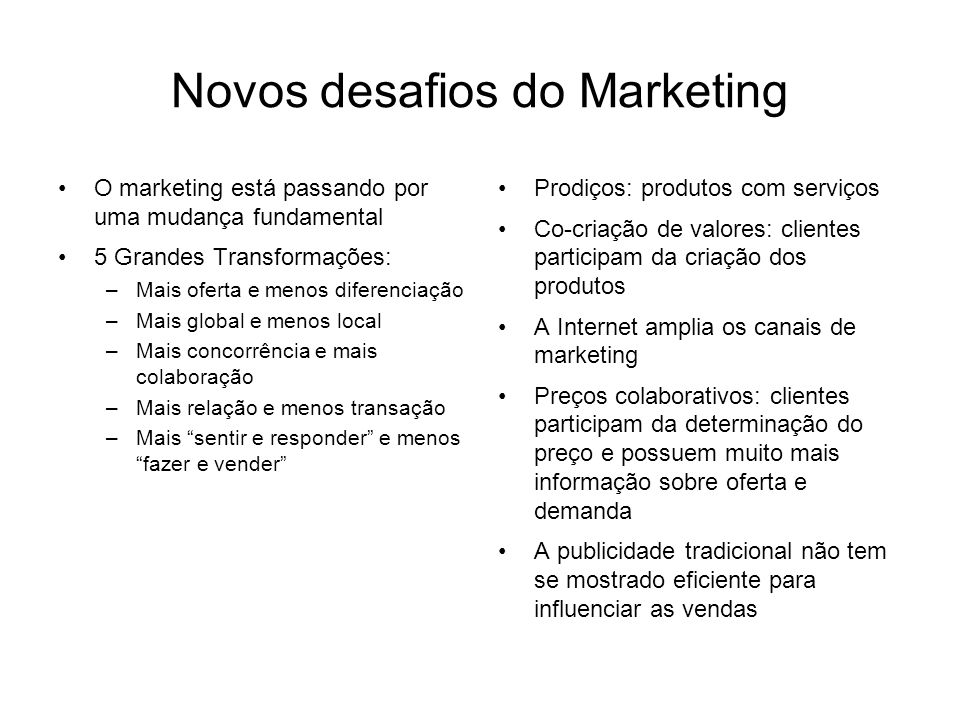Novos desafios do Marketing