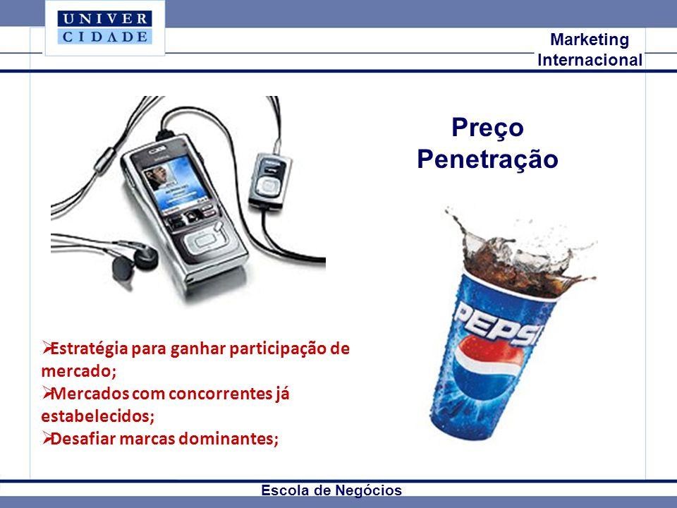 Preço Penetração Estratégia para ganhar participação de mercado;