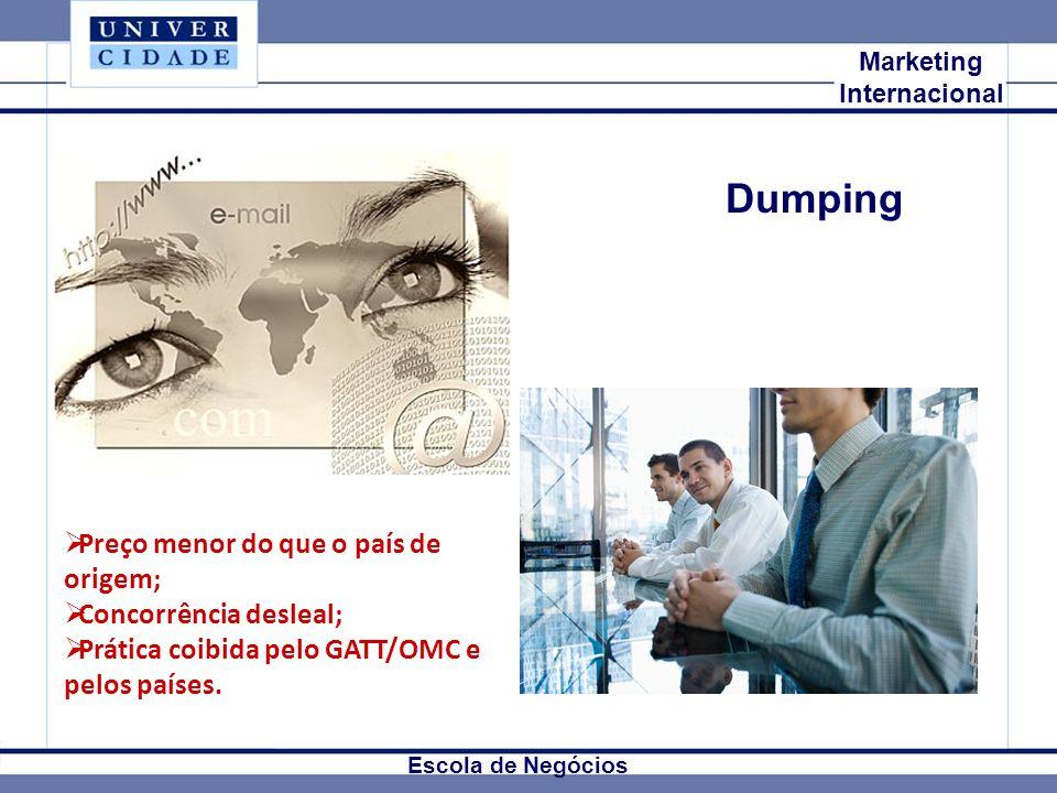 Dumping Preço menor do que o país de origem; Concorrência desleal;