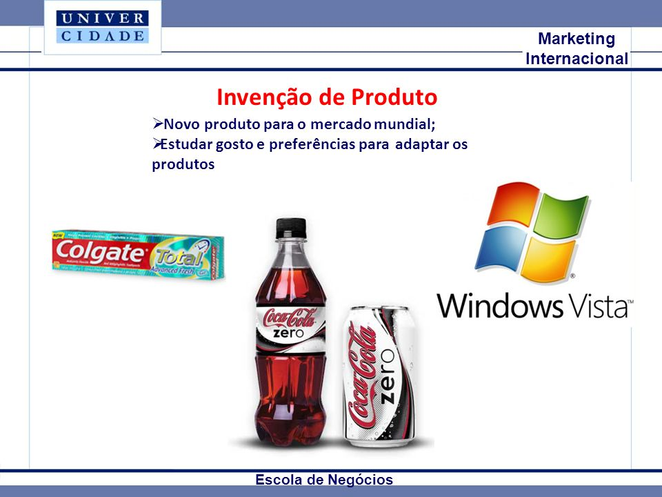 Invenção de Produto Mkt Internacional Marketing Internacional