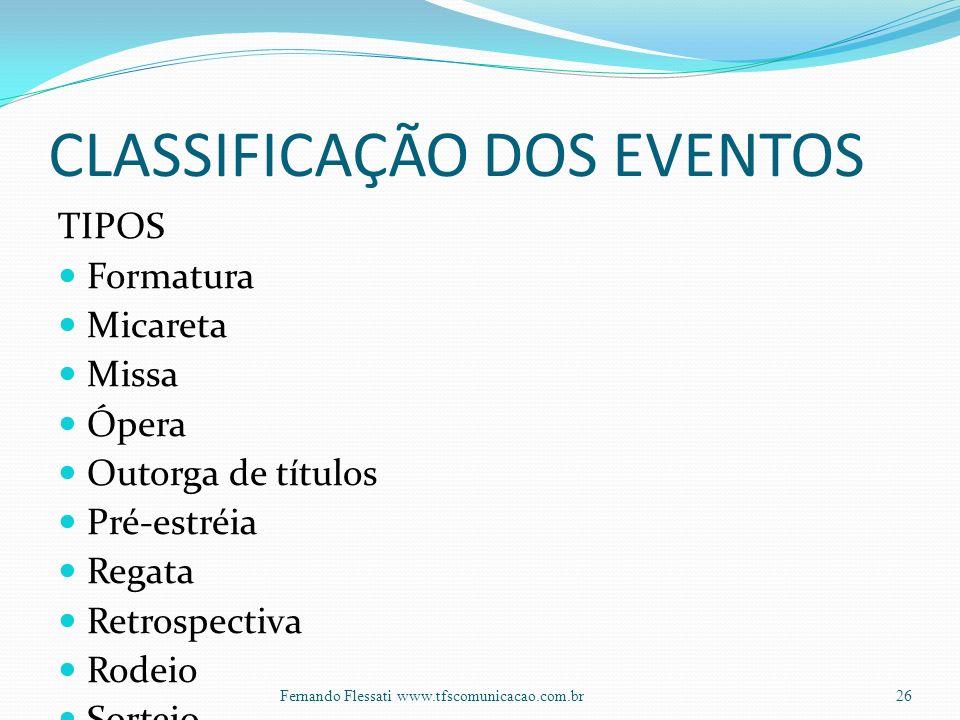 CLASSIFICAÇÃO DOS EVENTOS