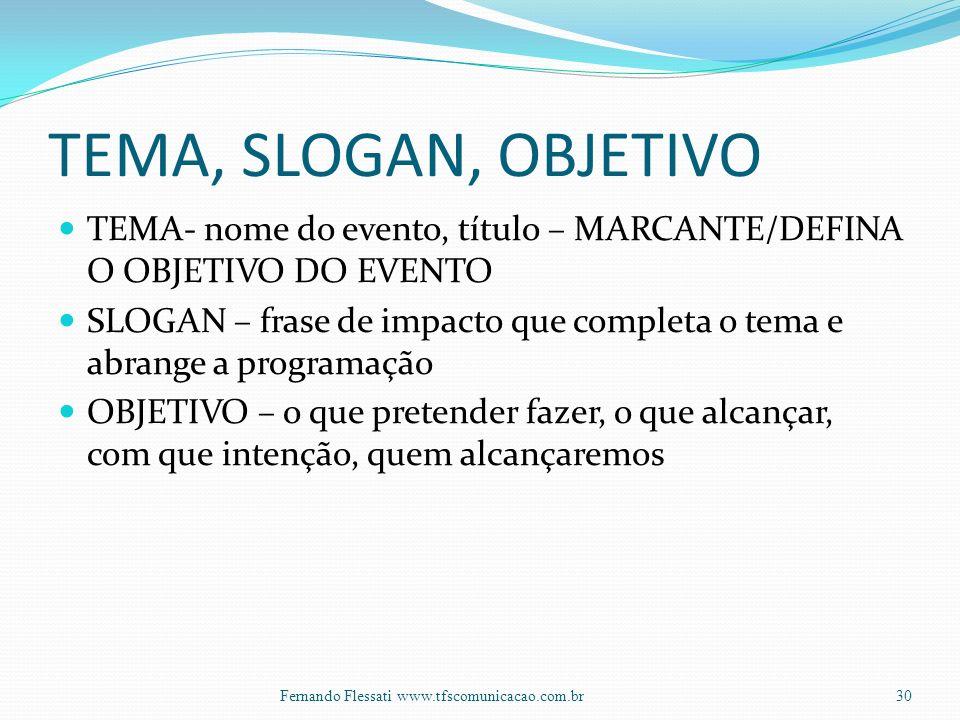 TEMA, SLOGAN, OBJETIVO TEMA- nome do evento, título – MARCANTE/DEFINA O OBJETIVO DO EVENTO.