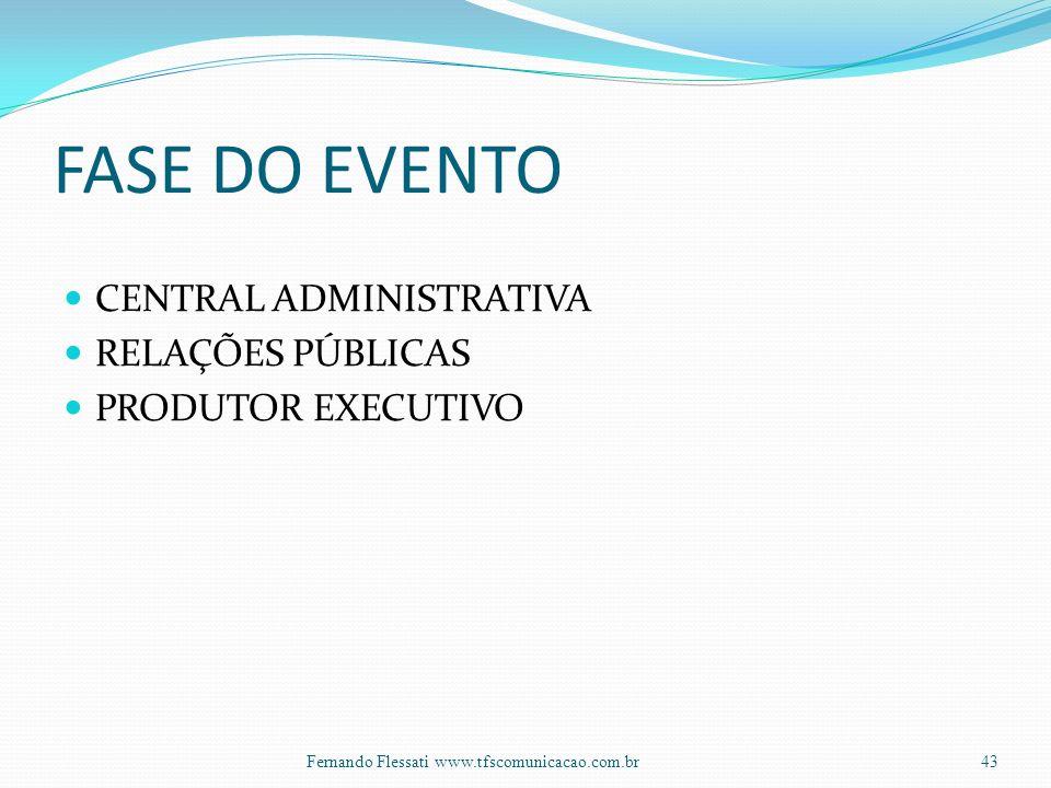 FASE DO EVENTO CENTRAL ADMINISTRATIVA RELAÇÕES PÚBLICAS