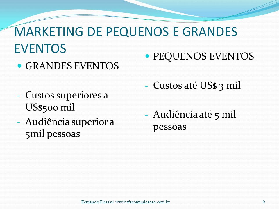 MARKETING DE PEQUENOS E GRANDES EVENTOS