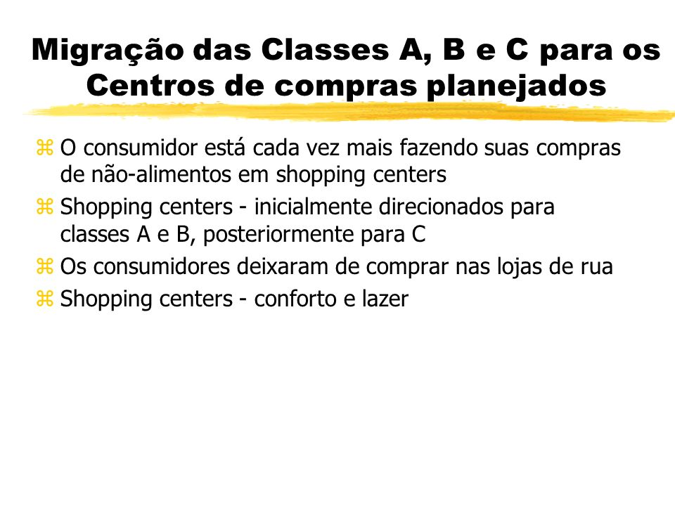 Migração das Classes A, B e C para os Centros de compras planejados