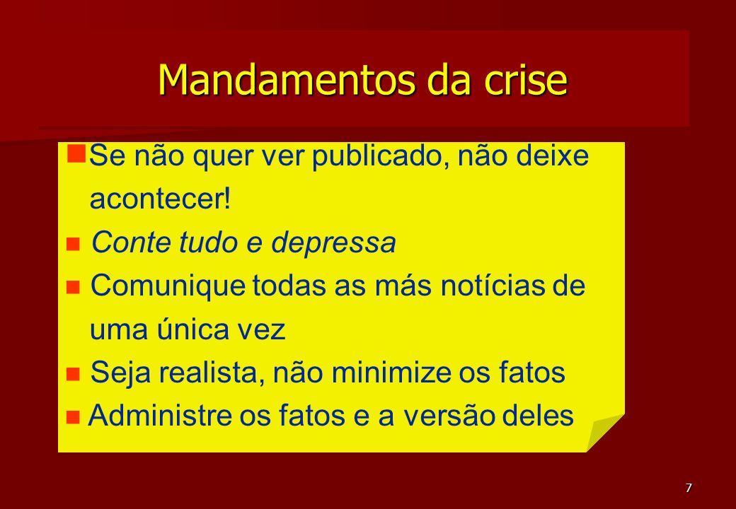 Mandamentos da crise Se não quer ver publicado, não deixe acontecer!
