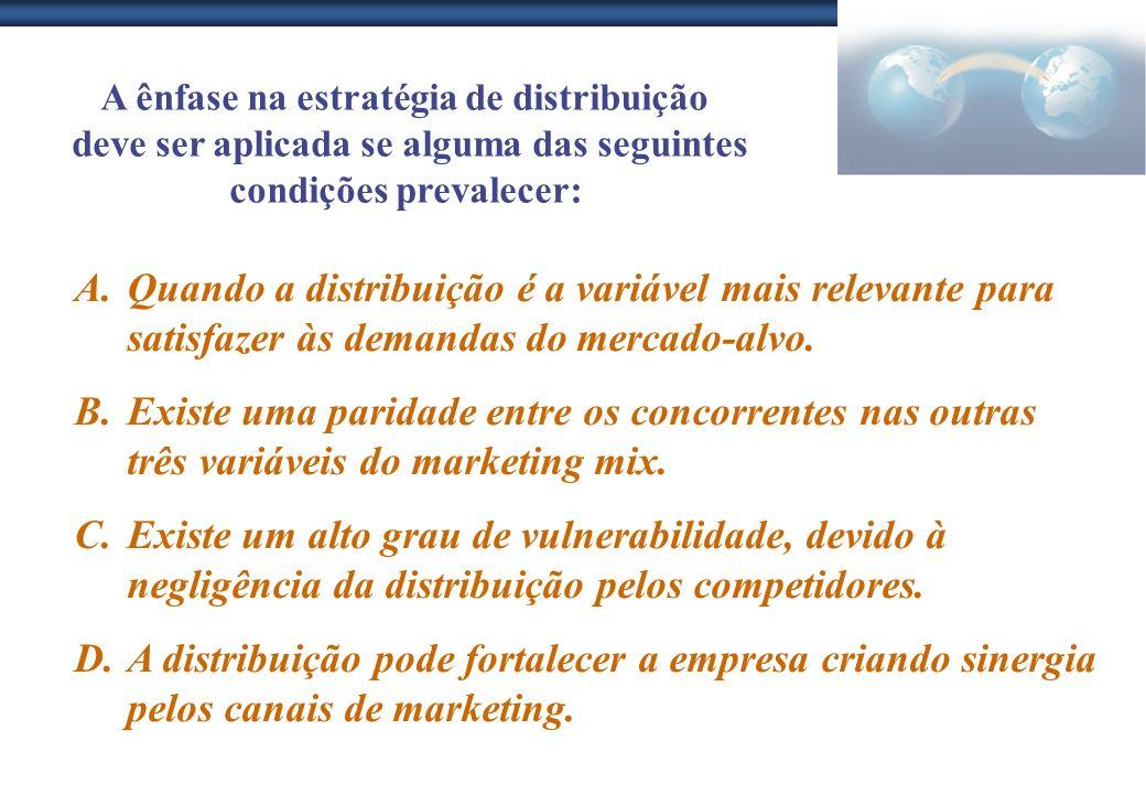 A ênfase na estratégia de distribuição deve ser aplicada se alguma das seguintes condições prevalecer: