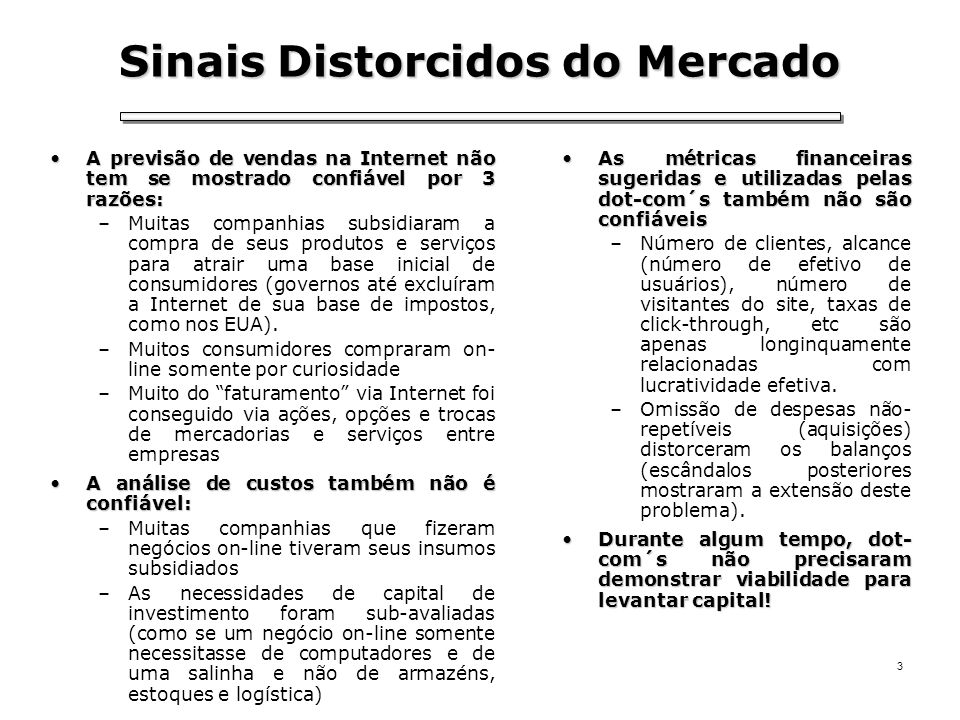 Sinais Distorcidos do Mercado