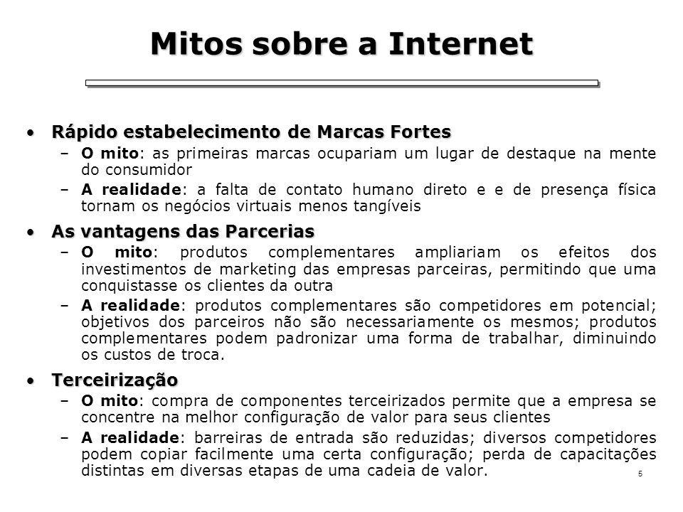 Mitos sobre a Internet Rápido estabelecimento de Marcas Fortes