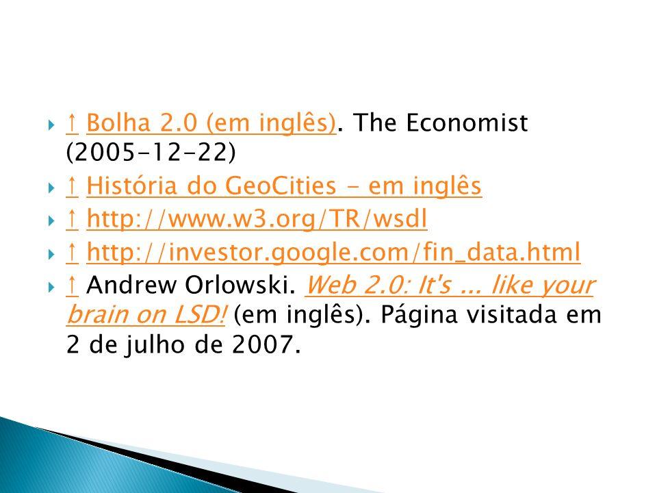 ↑ Bolha 2.0 (em inglês). The Economist (2005-12-22)
