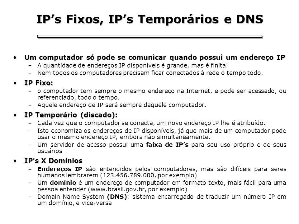 IP's Fixos, IP's Temporários e DNS