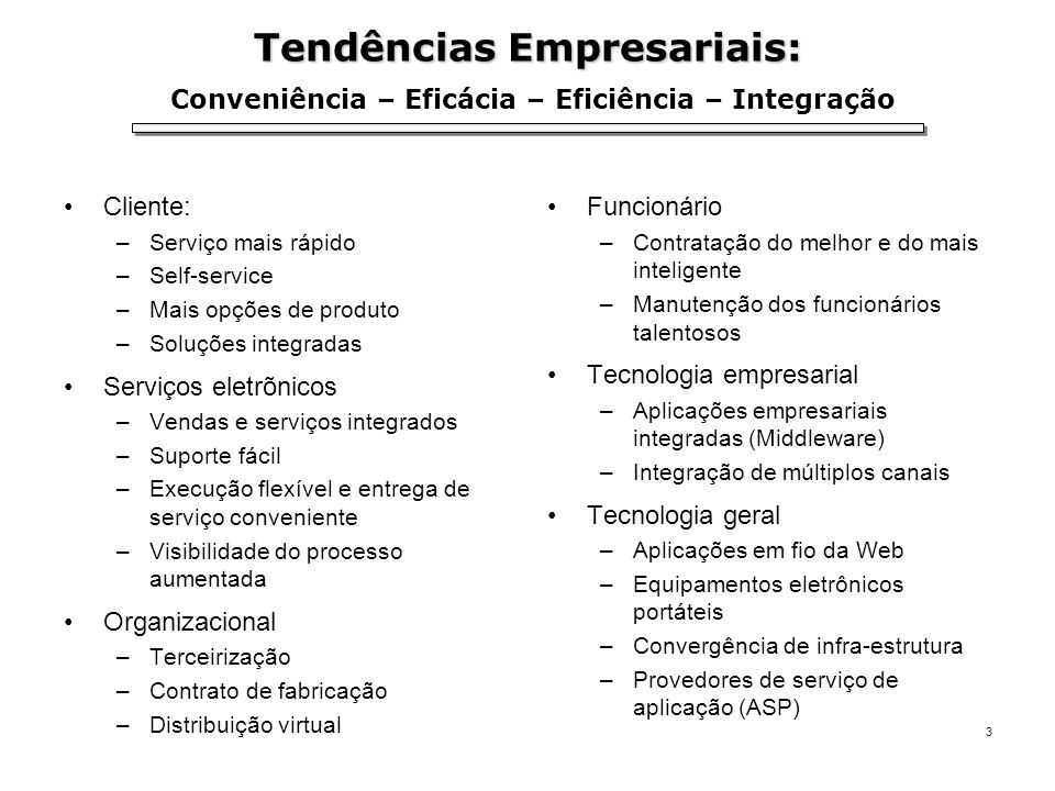 Tendências Empresariais: Conveniência – Eficácia – Eficiência – Integração