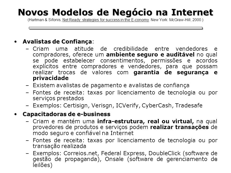 Novos Modelos de Negócio na Internet (Hartman & Sifonis, Net Ready: strategies for success in the E-conomy. New York: McGraw-Hill, 2000.)