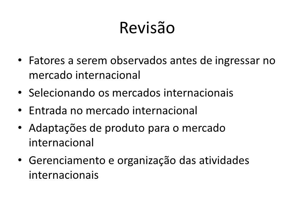 Revisão Fatores a serem observados antes de ingressar no mercado internacional. Selecionando os mercados internacionais.