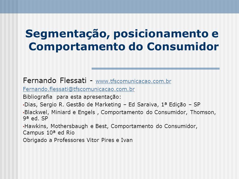 Segmentação, posicionamento e Comportamento do Consumidor