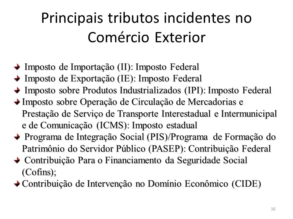 Principais tributos incidentes no Comércio Exterior