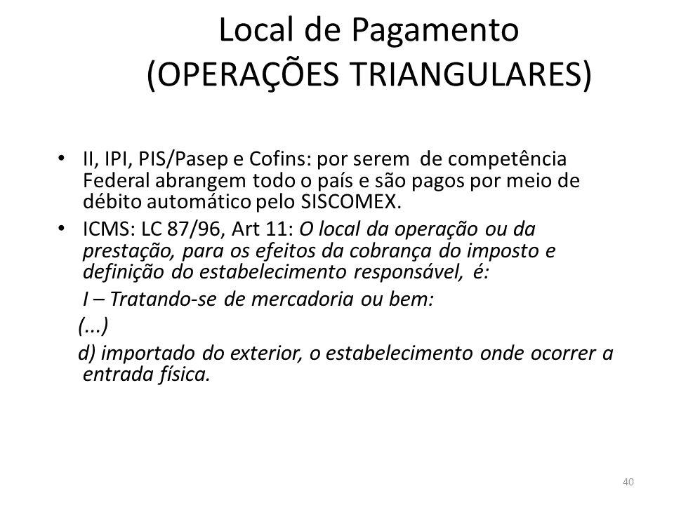 Local de Pagamento (OPERAÇÕES TRIANGULARES)