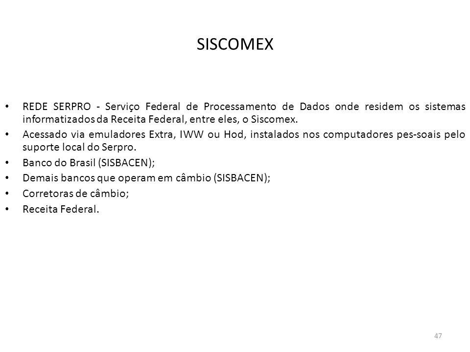SISCOMEX REDE SERPRO - Serviço Federal de Processamento de Dados onde residem os sistemas informatizados da Receita Federal, entre eles, o Siscomex.